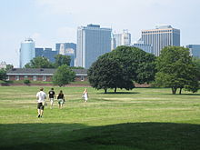 Fort Jay and Manhattan Skyscrapers, Governor's Island NY.jpg