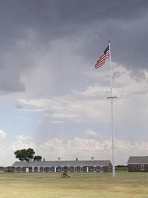 Fort Larned National Historic Site - Fort Larned Flagpole and Commissary Building