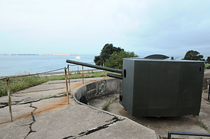 90 mm Gun M1/M2/M3 - 90 mm M1 gun on T3/M3 seacoast mount at Battery Parrott, Fort Monroe, VA