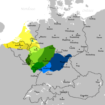 The Franconian dialects (Low Franconian, Central- and Rhine Franconian, and High Franconian) Frankisches Sprachgebiet.png