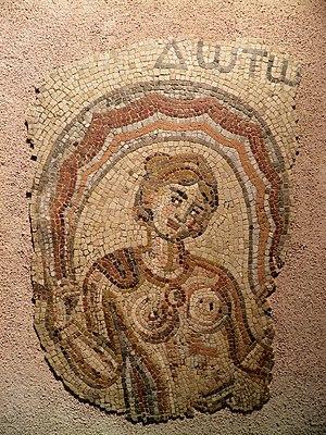 Ino (Greek mythology) - Fragment de mosaique : Ino (Dotô), découverte dans une villa romaine de Saint-Rustice en 1833, IVè ou Vè siècle, MSR, Musée Saint-Raymon