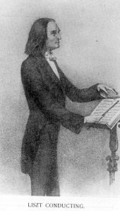 drawing of a man wearing a dark tailcoat and striped trousers standing with a baton in front of a music stand