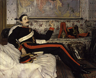 Frederick Gustavus Burnaby - Portrait of Burnaby in his uniform as a captain in the Royal Horse Guards by James Tissot (1870)
