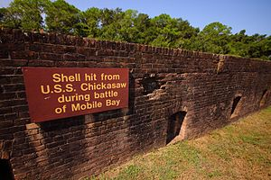 USS Chickasaw (1864) - Ft. Gaines Shell Hit From USS Chickasaw