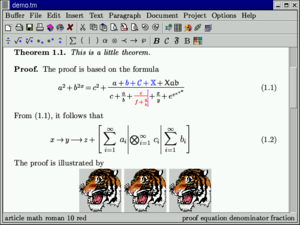GNU TeXmacs - A screenshot showing several features: mathematical formulas; bitmaps; bold, color, and italic font.