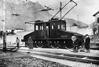 A prototype of a Ganz AC electric locomotive in Valtellina, Italy, 1901 Ganz engine Valtellina.jpg