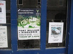 Kingussie Camanachd - Garage window, Kingussie - geograph.org.uk - 957543 Shinty is a major part of community life in Kingussie