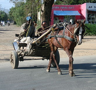 Gari (vehicle) - A gari crosses the busy Addis Ababa-Dire Dawa Road in Adama, Ethiopia.