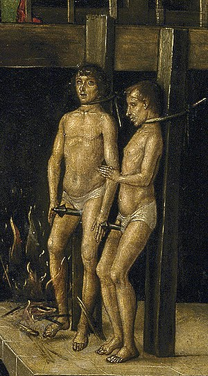 Humiliation - Non-trinitarian Cathars being burnt at the stake in an auto-de-fé (c. 1495, with garrote and phallus), presided over by Saint Dominic, oil on panel by Pedro Berruguete.