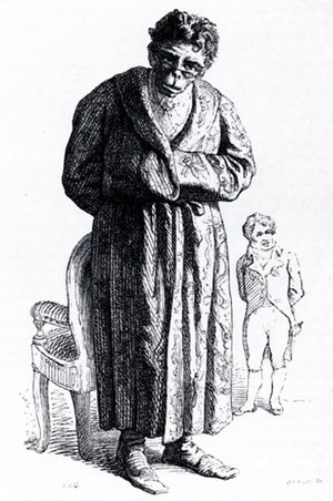 Étienne Geoffroy Saint-Hilaire - Cartoon of Geoffroy as an ape, with Cuvier in the background. 1842