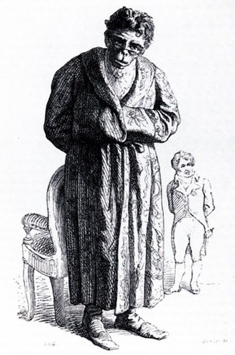 Étienne Geoffroy Saint-Hilaire - Cartoon of Geoffroy as an ape, with Cuvier in the background, by Jean Ignace Isidore Gérard Grandville, 1842