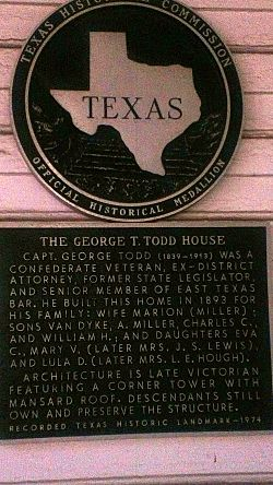 Photo of George T. Todd black plaque
