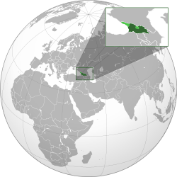 Georgia proper shown in dark green; areas outside of Georgian control shown in light green.
