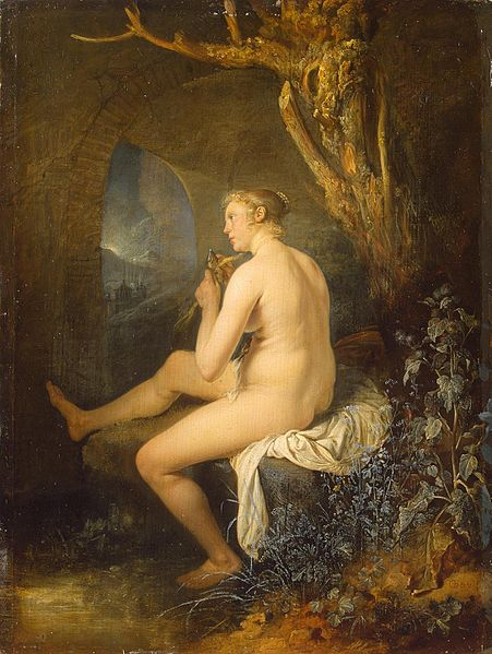 File:Gerard Dou - Woman bather combing her hair.jpg