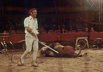 Lion taming - Circus director and lion tamer Gerd Siemoneit-Barum during a performance in Nordenham, Germany in May 1977