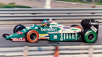 Gerhard Berger - Berger driving for Benetton at the 1986 Detroit Grand Prix