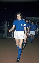 Giacinto Facchetti wearing the classic Italian uniform in 1968: blue shirt, white shorts and blue socks and the tricolour badge.