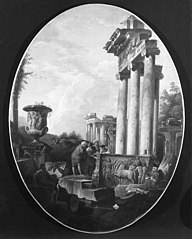 Capriccio of Roman Ruins with a Bas-Relief of a Charioteer