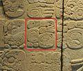 Glifo Ahkal Mo' Naab I en tablero del Templo XVII.jpg