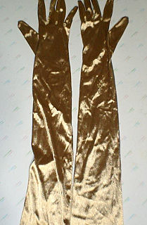 formal glove reaching above the elbow, worn with evening or ball gowns