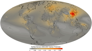 Sulfate - Sulfate aerosol optical thickness 2005 to 2007 average