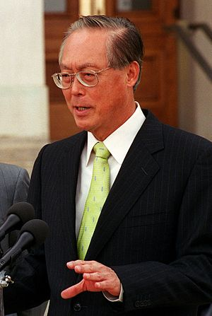 Group Representation Constituency - In 1988, First Deputy Prime Minister Goh Chok Tong (pictured here in June 2001) supported GRCs on the ground that they would ensure that Parliament always remained multiracial
