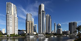 Nerang River - Gold coast skyline view from Nerang River, Chevron Island.