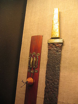 Migration Period sword - 5th-century Alamannic gold hilt spatha found at Villingendorf