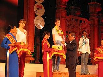 Valentina Golubenko - Valentina Golubenko receives Gold Medal of the World Youth Chess Championship, 30 October 2008