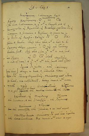 John Goodyer - Page from Goodyer's Dioscorides