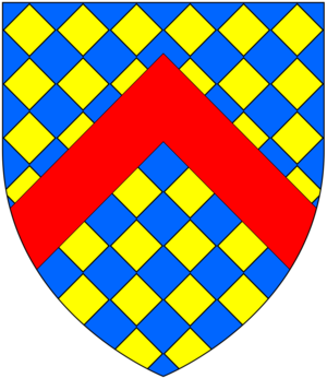 Ferdinando Gorges - Arms of Gorges (modern): Lozengy or and azure, a chevron gules. These arms resulted from the famous 1347 heraldry case of Warbelton v Gorges