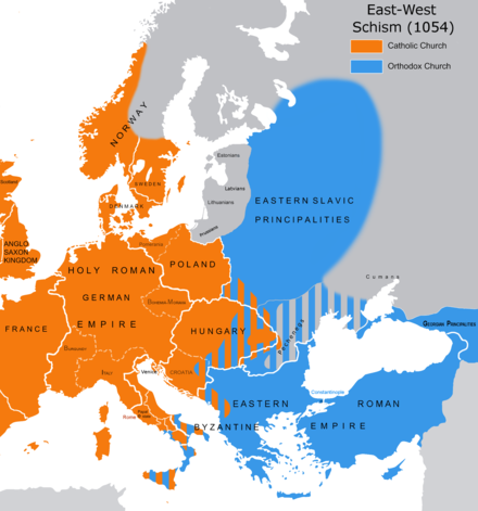 The East-West Schism Great Schism 1054 with former borders.png