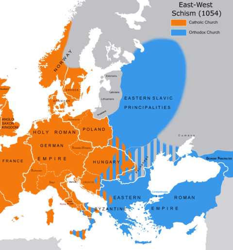 Religious division in 1054 Great Schism 1054 with former borders.png