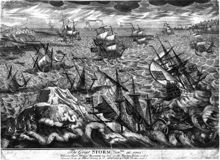November 24: The Great Storm of 1703. Great Storm 1703 Goodwin Sands engraving.PNG