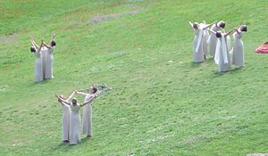 2004 Summer Olympics - The ceremony for the lighting of the flame is arranged as a pagan pageant, with priestesses dancing.