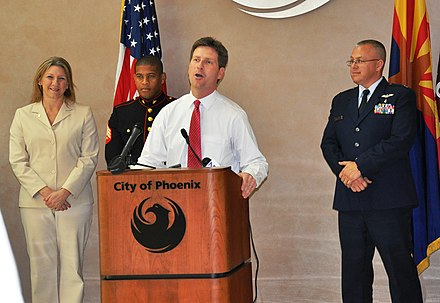 Greg Stanton briefs reporters at a press conference at City Hall. Greg Stanton at podium.JPG