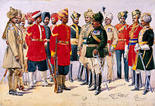 A painted illustration showing a group of men wearing various 19th Century military uniforms – some wearing sand-coloured tunics, some red and some black. All of the men are wearing turbans of various colours.