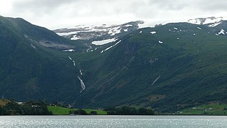 Grovabreen - Looking south at the Grovabreen from the lake Jølstravatnet