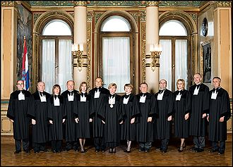 Constitutional Court of Croatia - Justices of the Constitutional Court in 2009. From left to right: Mario Jelušić (2008-), Ivan Matija (1999-2016), Snježana Bagić (2007-), Miroslav Šeparović (2009-), Duška Šarin (2008-2016), Aldo Radolović (2007-2016), Jasna Omejec (1999-2016, President of the Court 2008-2016), Nevenka Šernhorst (2002-2011), Mato Arlović (2009-), Antun Palarić (2009-2017), Slavica Banić (2008-2016), Davor Krapac (2007-2016), Marko Babić (2007-2016)