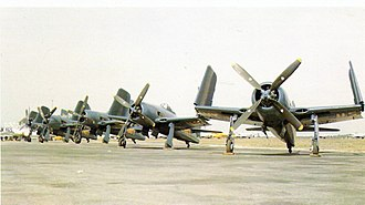 """Grumman F8F Bearcat - On 25 August 1946, the Blue Angels transitioned to the Grumman F8F-1 Bearcat and introduced the famous """"diamond"""" formation."""