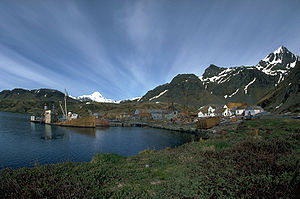 English: Whaling station on Grytviken, South G...