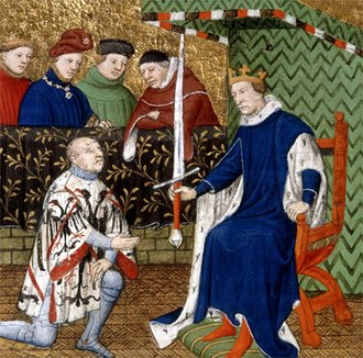 Battle of Pontvallain - Bertrand du Guesclin is appointed Constable of France by King Charles V in 1370; from a contemporary manuscript.