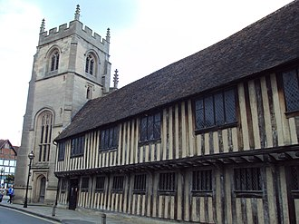 King Edward VI School, Stratford-upon-Avon - The Guildhall and Chapel (from Church Street)