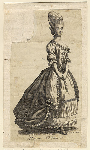 Nationella dräkten - The original feminine version of the costume, from 1780. Engraving by Johan Snack