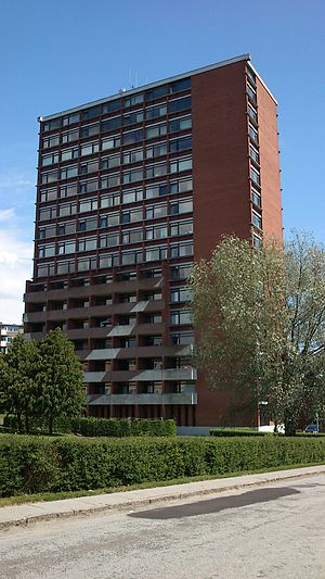 Aarhus V - The skyline of Møllevangen is dominated by Højhus Charlottehøj - one of the only brick-constructed highrises in Denmark.