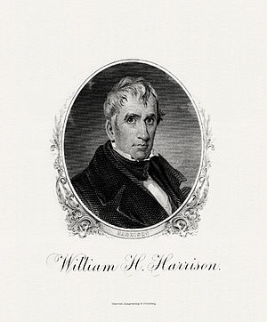 BEP engraved portrait of Harrison as President.