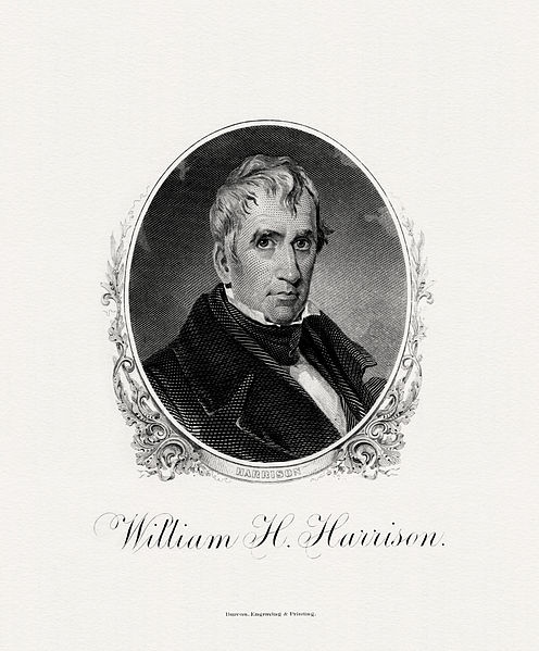 Engraving of William Henry Harrison, courtesy of the Bureau of Engraving and Printing