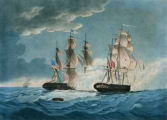 Capture of USS President - USS President (left foreground) and HMS Endymion (right foreground) exchanged broadsides and brailed up their spankers at 7 pm on January 15, 1815