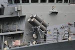 HMS Northumberland (F238) at West India South Dock - Harpoon anti-ship missile launchers 02.JPG
