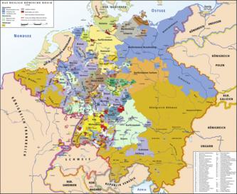 Das Heilige Römische Reich am Vorabend der Französischen Revolution 1789 (in lila geistliche Territorien, in rot die Reichsstädte) (Quelle: Wikimedia)